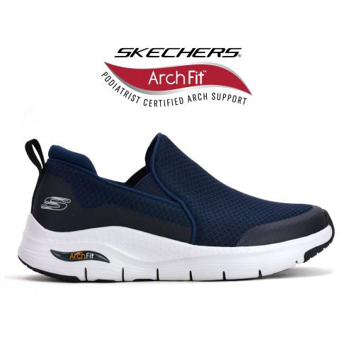 Champion Deportivo Skechers Arch Fit Banlin Wide Fit Horma Ancha Navy