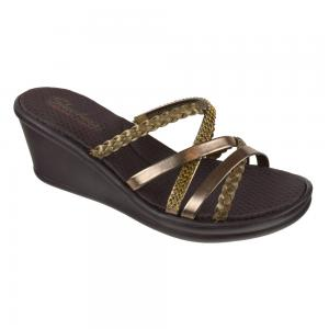 Sandalia Confort Taco Corrido Skechers Rumblers - Wild Child Bronze