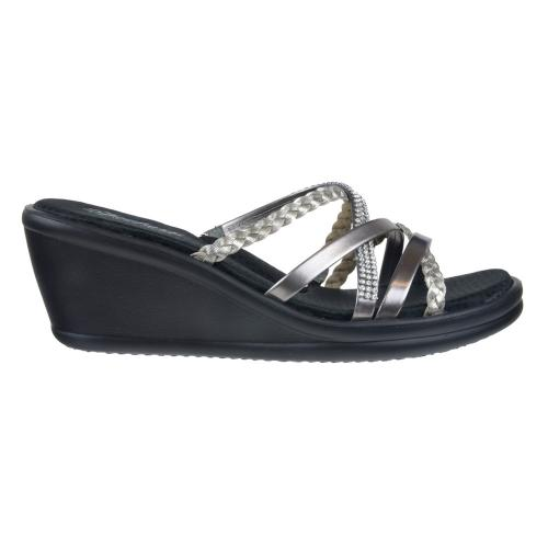Sandalia Confort Taco Corrido Skechers Rumblers - Wild Child Pewter