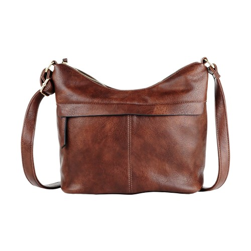Cartera Bandolera Korium Crackled Dark Brown